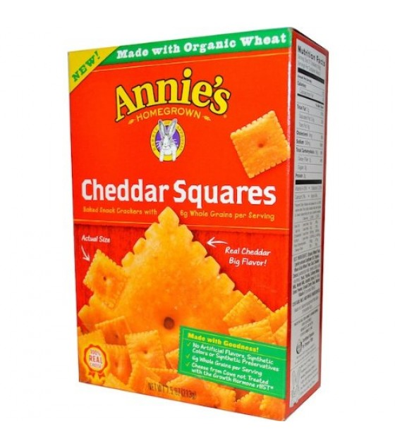 [Annie`S Homegrown] Crackers Cheddar Squares, Natural  At least 70% Organic