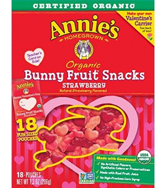[Annie`S Homegrown] Organic Bunny Fruit Snacks Berry Patch, 18 Ct  At least 95% Organic