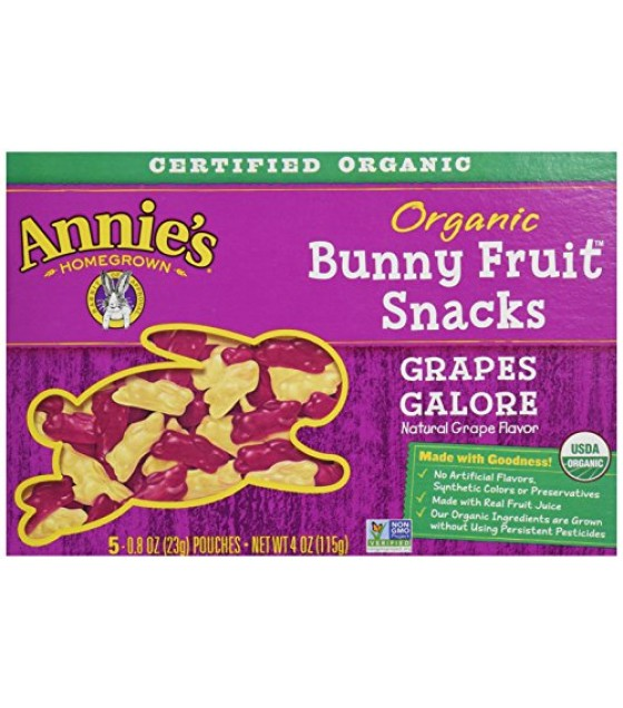 [Annie`S Homegrown] Organic Bunny Fruit Snacks Grapes Galore  At least 95% Organic