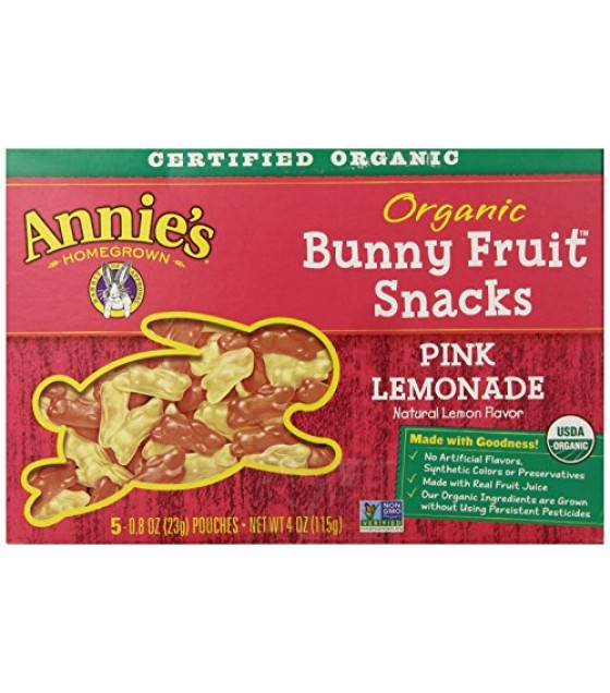 [Annie`S Homegrown] Organic Bunny Fruit Snacks Pink Lemonade  At least 95% Organic