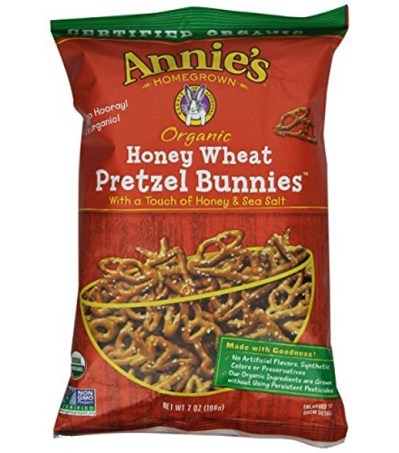 [Annie`S Homegrown] Organic Pretzels Pretzel Bunnies, Honey Wheat  At least 95% Organic