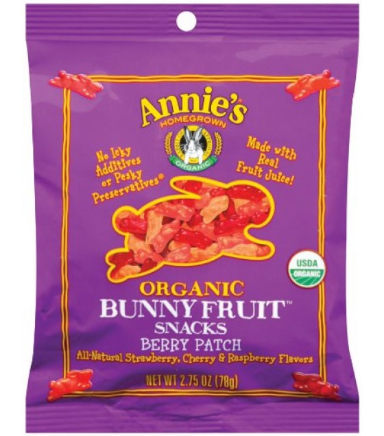 [Annie`S Homegrown] Organic Bunny Fruit Snacks Berry Patch, Big Caddy  At least 95% Organic