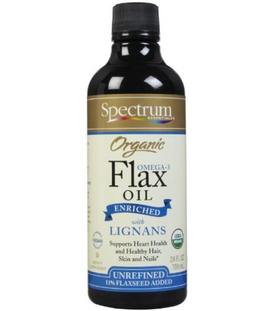 [Spectrum Essentials] Flax Seed Oil & Blends Enriched Flax Oil w/Lignans 8%  At least 95% Organic