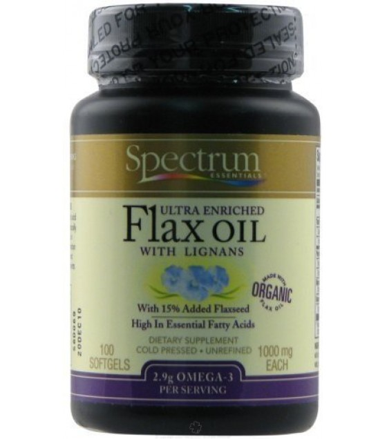 [Spectrum Essentials] Flax Seed Oil & Blends Ultra Enriched Flax Oil w/Lignans  At least 95% Organic