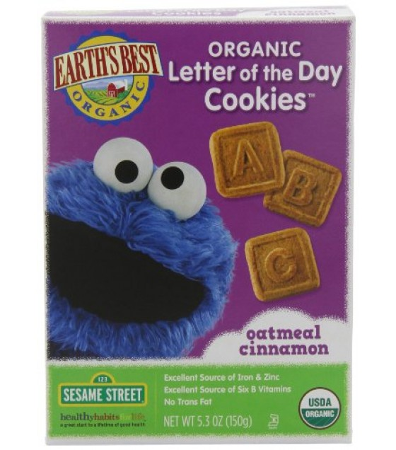 [Earth`S Best Baby Foods] Sesame Street Line Oatmeal Cinnamon Cookies  At least 95% Organic