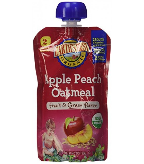 [Earth`S Best Baby Foods] Fruit & Grain Puree Apple Peach Oatmeal  At least 95% Organic
