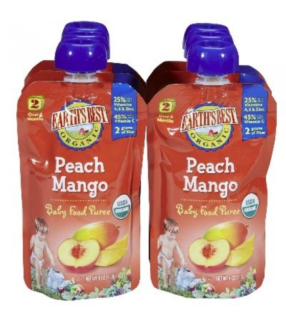 [Earth`S Best Baby Foods] Fruit & Vegetables Puree, Peach Mango 2nd Foods  At least 95% Organic