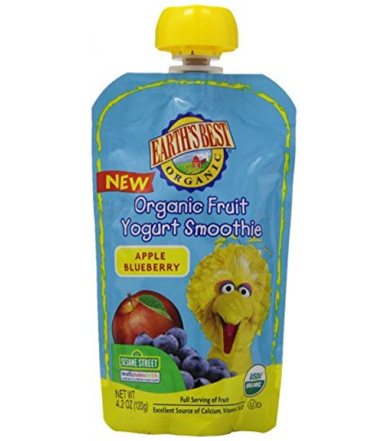 [Earth`S Best Baby Foods] Organic Fruit Yogurt Smoothie Apple Blueberry  At least 95% Organic