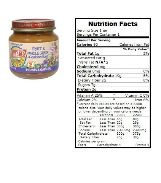 [Earth`S Best Baby Foods] Fruit & Vegetables Prunes & Oatmeal  At least 95% Organic