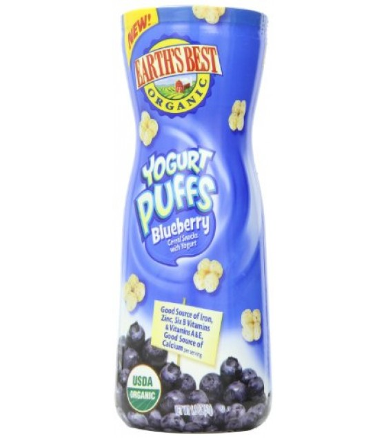 [Earth`S Best Baby Foods] Yogurt Puffs-Cereal Snacks Blueberry  At least 95% Organic