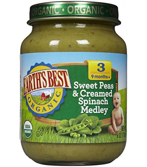 [Earth`S Best Baby Foods] Third Foods - Vegetable Medleys For 9 Months & Older Swt Peas & Crm Spinach, Chunky  At least 95% Organic