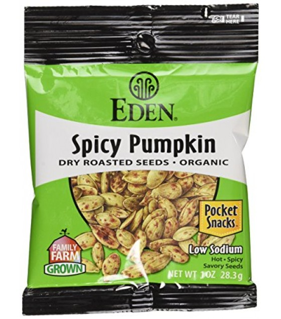 [Eden Foods] Pocket Snacks Seeds, Pumpkin, Spicy  At least 95% Organic