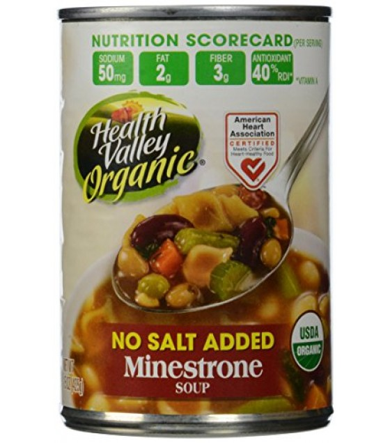[Health Valley] Soup Minestrone, Unsalted  At least 95% Organic