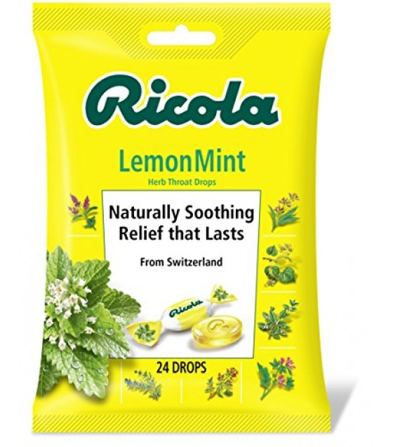 [Ricola] Natural Herb Cough Throat Drops Lemon Mint, Bag