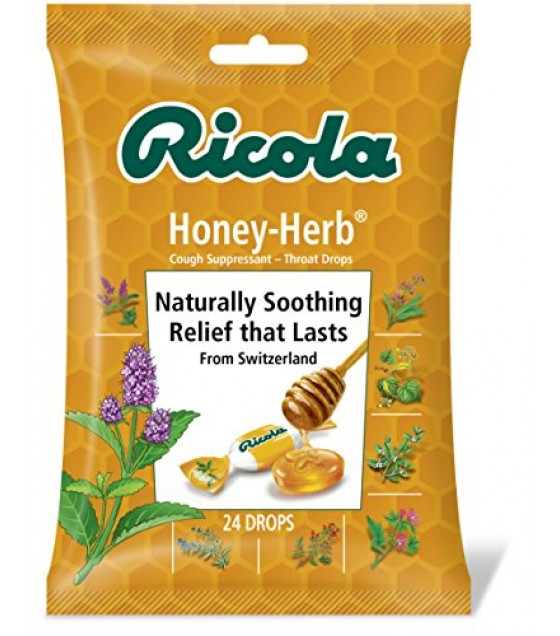 [Ricola] Natural Herb Cough Throat Drops Honey Herb, Bag