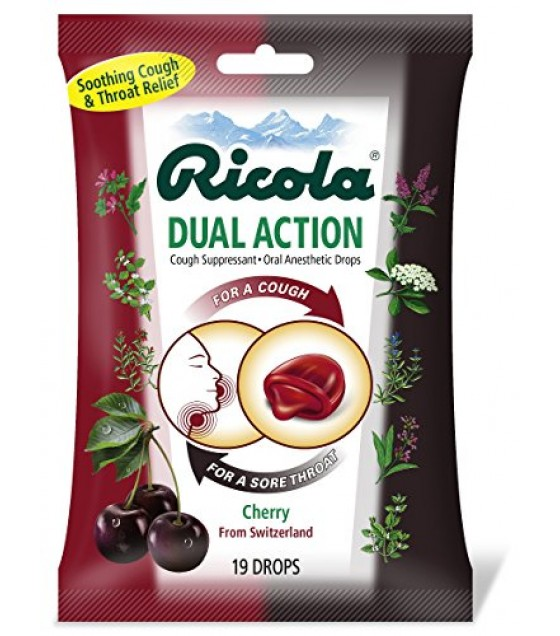 [Ricola] Natural Herb Cough Throat Drops Cherry, Dual Action