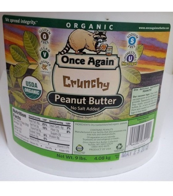 [Once Again] Nut Butters Peanut Butter, Crunchy, No Salt  At least 95% Organic