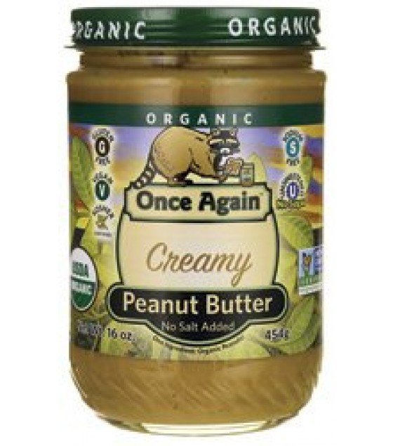 [Once Again] Nut Butters Peanut Butter Smooth No Salt  At least 95% Organic