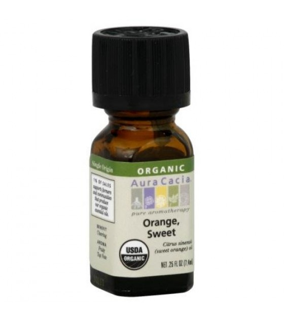[Aura Cacia] Organic Essential Oil Orange, Sweet  At least 95% Organic