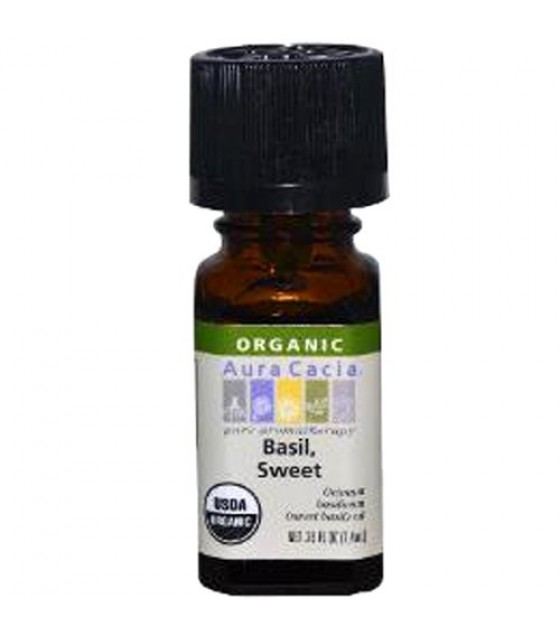 [Aura Cacia] Organic Essential Oil Basil, Sweet  At least 95% Organic