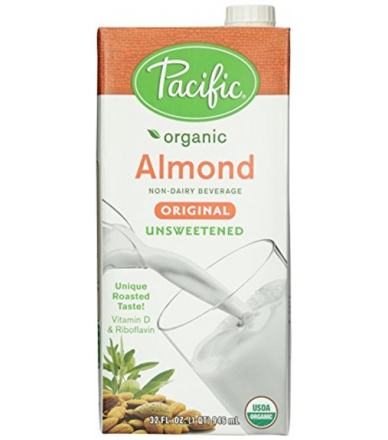 [Pacific Natural Foods] Non Dairy Alternative Beverage Almond, Original, Unsweetened  At least 95% Organic