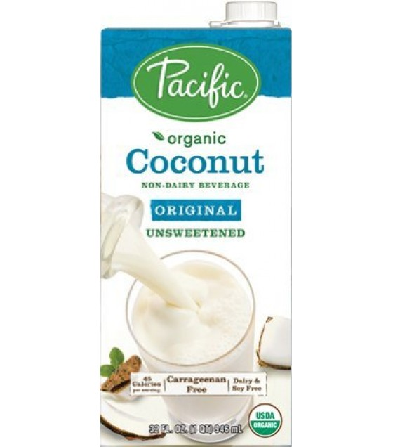 [Pacific Natural Foods] Non Dairy Alternative Beverage Coconut,Original,Unsweetened  At least 95% Organic