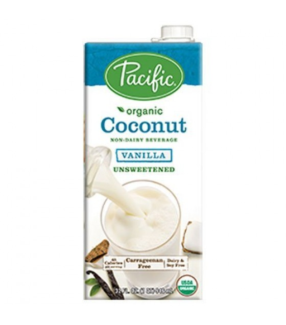 [Pacific Natural Foods] Non Dairy Alternative Beverage Coconut,Vanilla,Unsweetened  At least 95% Organic