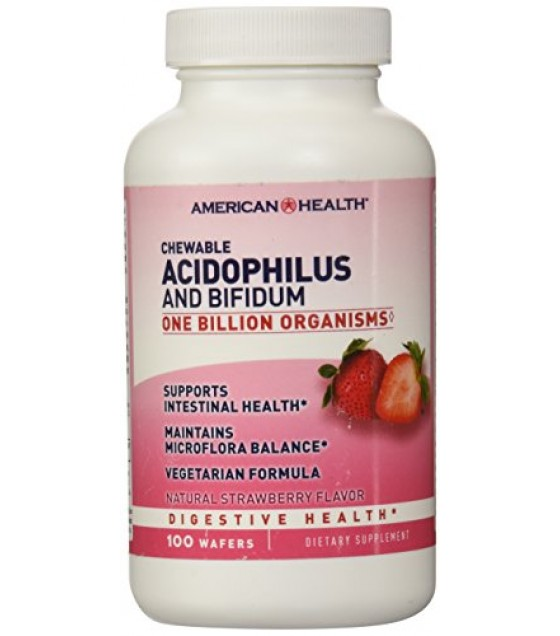 [American Health] Natural Health Aids Acidophilus, Chewable, Strawberry