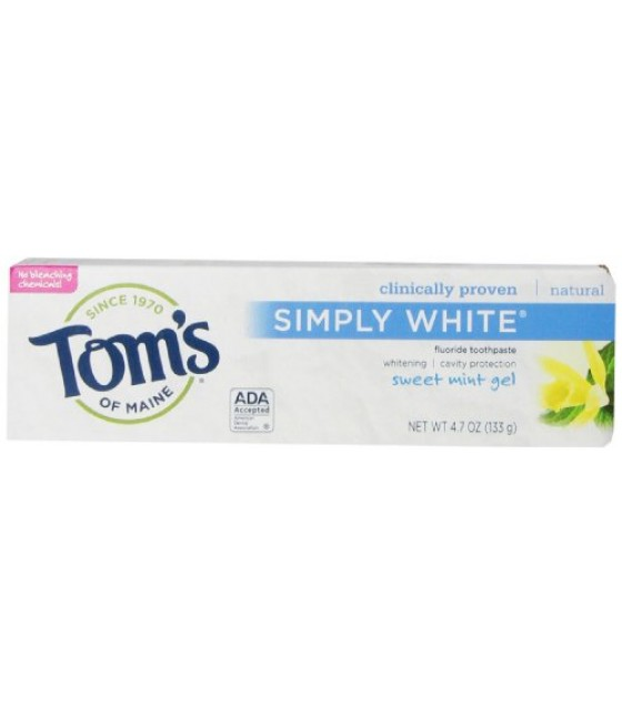 [Tom`S Of Maine] Toothpaste w/Fluoride Simply White Sweet Mint Gel
