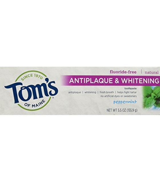[Tom`S Of Maine] Toothpaste, Flouride Free Fennel, Tartar Control + Whitening
