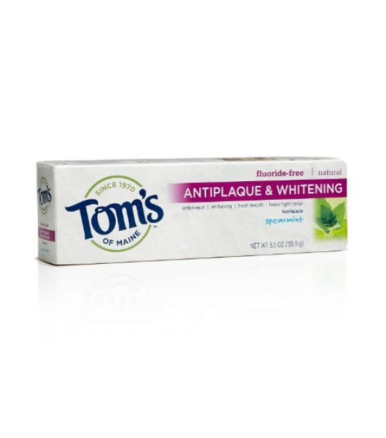 [Tom`S Of Maine] Toothpaste, Flouride Free Spearmint, Tartar Contril+Whitening