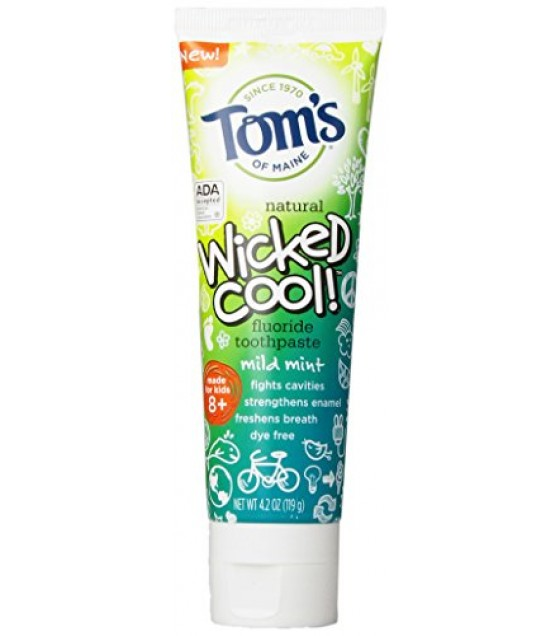 [Tom`S Of Maine] Toothpaste w/Fluoride Wicked Cool, Mild Mint
