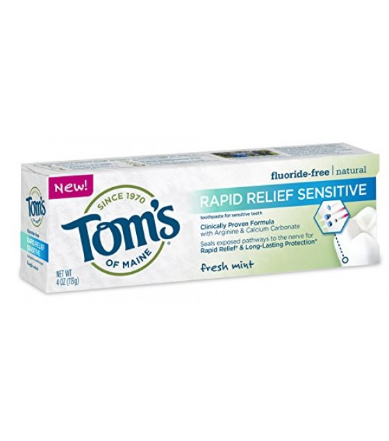 [Tom`S Of Maine] Toothpaste, Flouride Free Rapid Relief Sensitive, Frsh Mnt