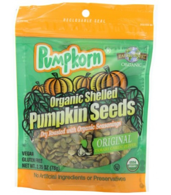 [Pumpkorn] Organic Shelled Pumpkin Seeds Original Tamari Garlic Pepper  At least 95% Organic