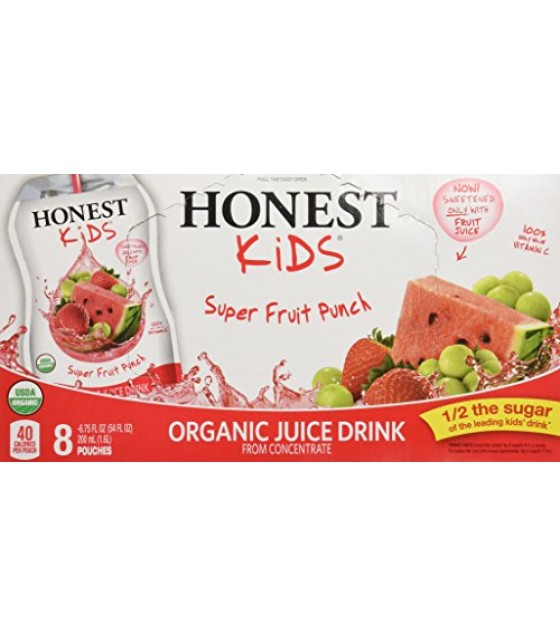 [Honest Kids] No Sugar Added Cartons Super Fruit Punch  At least 95% Organic