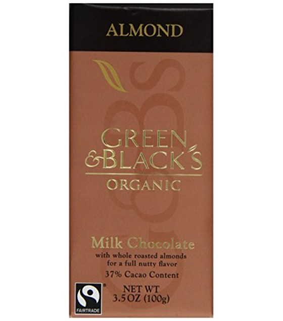 [Green & Black`S] Natural Confections Milk w/Almonds, 37% Cocoa  At least 95% Organic