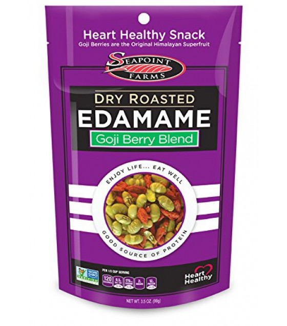 [Seapoint Farms] Edamame, Ready to Eat Dry Roasted Goji Blend