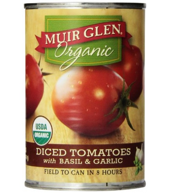 [Muir Glen] Diced Tomatoes Basil & Garlic  At least 95% Organic