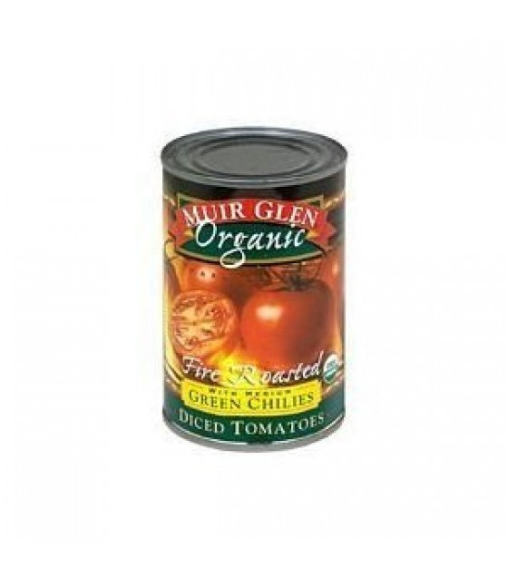 [Muir Glen] Fire Roasted Tomatoes Diced w/Green Chilies  At least 95% Organic
