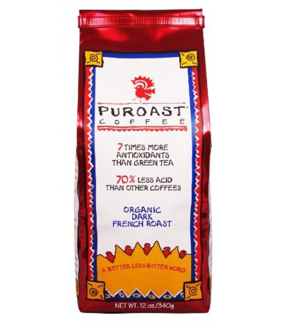[Puroast Low Acid Coffee] Whole Bean Organic Whole Bean French Rst  At least 95% Organic