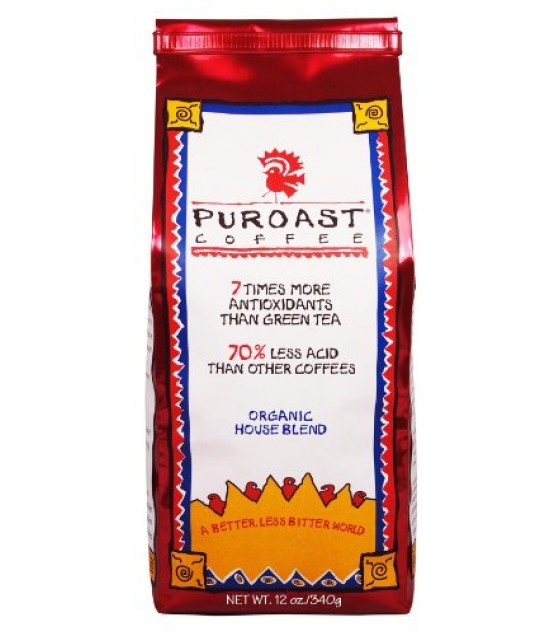 [Puroast Low Acid Coffee] Whole Bean Organic Whole Bean Houe Blnd  At least 95% Organic