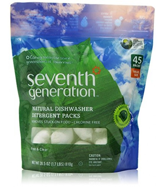 [Seventh Generation] Biodegradable Dishwashing Products Dishwasher Packs, Free & Clear