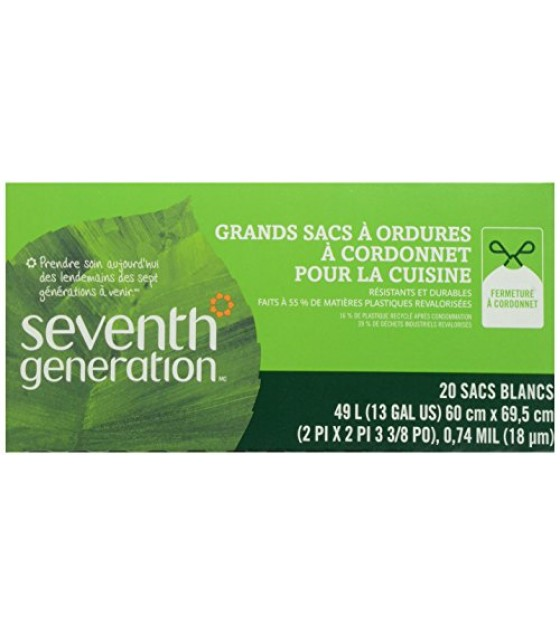 [Seventh Generation] 100% Recycled Plastic Bags Kitchen, Tall Garbage w/Drawstrings