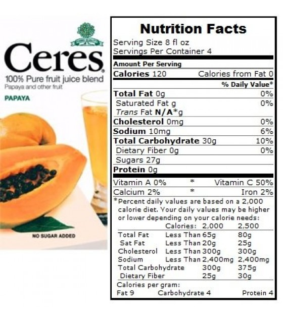 [Ceres] 100% Pure Fruit Juice Papaya