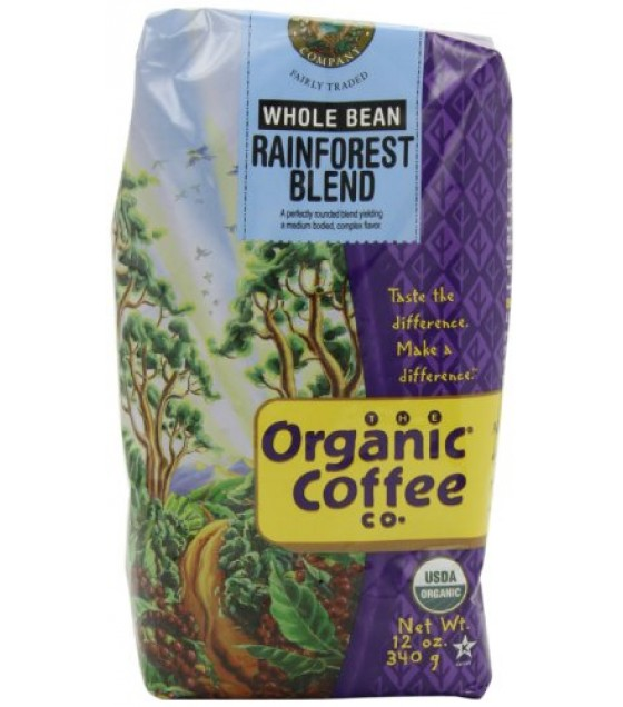 [Organic Coffee Co.] Fair Trade Certified Premium Roast Coffee Beans Fair Trade Rainforest Blend  At least 95% Organic