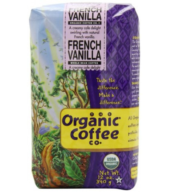 [Organic Coffee Co.] Premium Roast Coffee Beans French Vanilla  At least 95% Organic