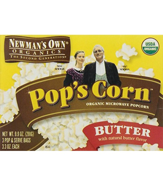 [Newman`S Own Organics] Popcorn Microwave, Butter  At least 95% Organic
