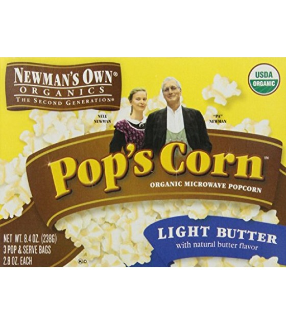 [Newman`S Own Organics] Popcorn Microwave, Light Butter  At least 95% Organic