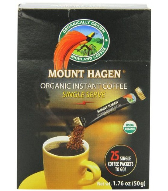 [Mt. Hagen] Individual Serving Packets Instant Coffee, Regular  At least 95% Organic