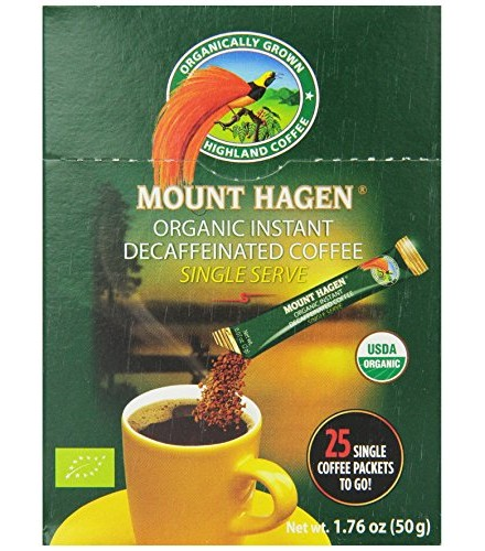 [Mt. Hagen] Individual Serving Packets Instant Coffee, Decaf  At least 95% Organic